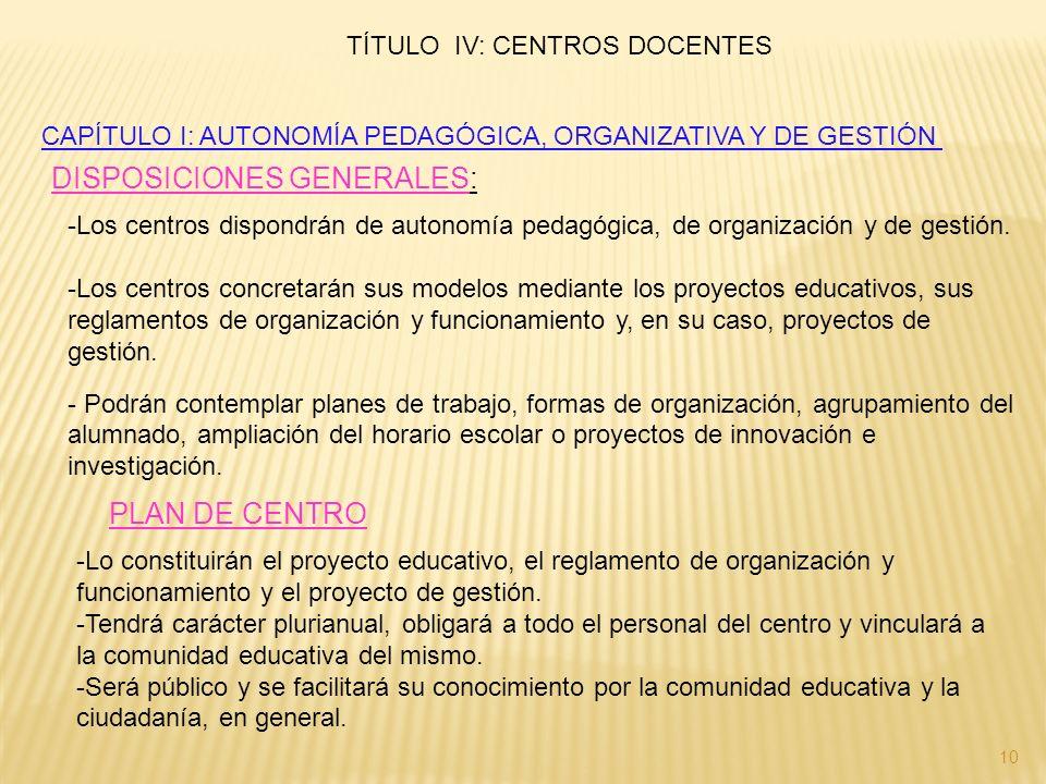 CAPÍTULO I: AUTONOMÍA PEDAGÓGICA, ORGANIZATIVA Y DE GESTIÓN DISPOSICIONES GENERALES: -Los centros dispondrán de autonomía pedagógica, de organización