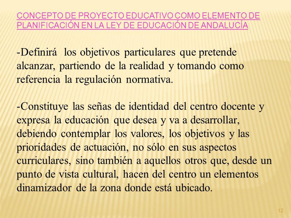 CONCEPTO DE PROYECTO EDUCATIVO COMO ELEMENTO DE PLANIFICACIÓN EN LA LEY DE EDUCACIÓN DE ANDALUCÍA -Definirá los objetivos particulares que pretende al