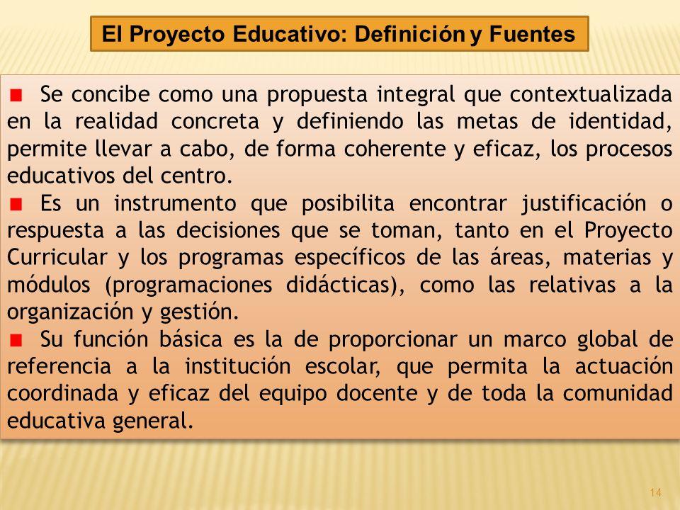 El Proyecto Educativo: Definición y Fuentes Se concibe como una propuesta integral que contextualizada en la realidad concreta y definiendo las metas