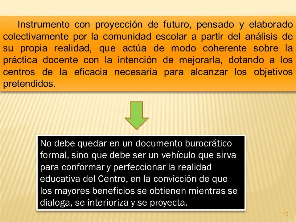 Instrumento con proyección de futuro, pensado y elaborado colectivamente por la comunidad escolar a partir del análisis de su propia realidad, que act