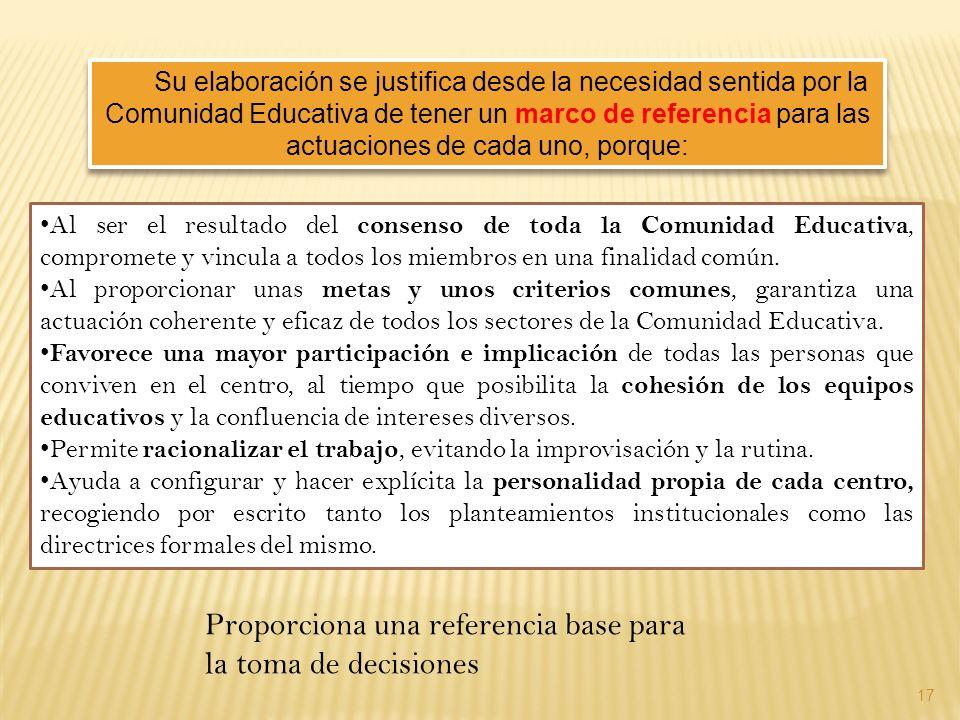 Su elaboración se justifica desde la necesidad sentida por la Comunidad Educativa de tener un marco de referencia para las actuaciones de cada uno, po
