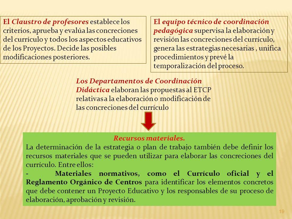19 El Claustro de profesores establece los criterios, aprueba y evalúa las concreciones del currículo y todos los aspectos educativos de los Proyectos