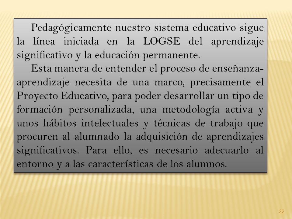 22 Pedagógicamente nuestro sistema educativo sigue la línea iniciada en la LOGSE del aprendizaje significativo y la educación permanente. Esta manera