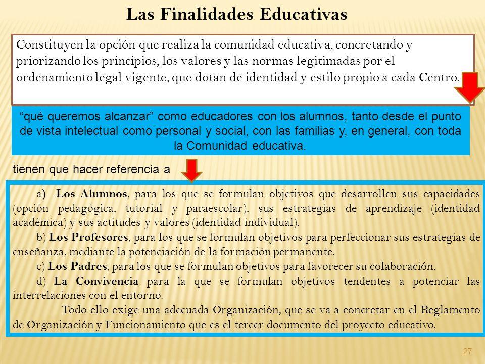 27 a ) Los Alumnos, para los que se formulan objetivos que desarrollen sus capacidades (opción pedagógica, tutorial y paraescolar), sus estrategias de