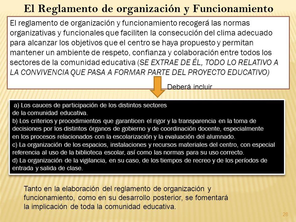 28 El Reglamento de organización y Funcionamiento El reglamento de organización y funcionamiento recogerá las normas organizativas y funcionales que f