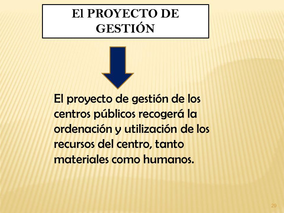 29 El PROYECTO DE GESTIÓN El proyecto de gestión de los centros públicos recogerá la ordenación y utilización de los recursos del centro, tanto materi
