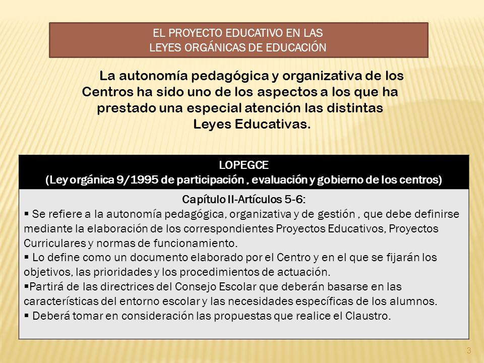 EL PROYECTO EDUCATIVO EN LAS LEYES ORGÁNICAS DE EDUCACIÓN La autonomía pedagógica y organizativa de los Centros ha sido uno de los aspectos a los que