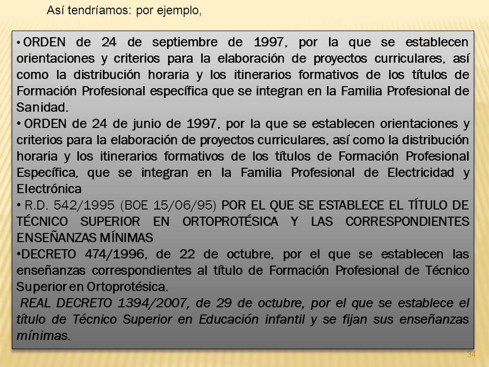 34 ORDEN de 24 de septiembre de 1997, por la que se establecen orientaciones y criterios para la elaboración de proyectos curriculares, así como la di