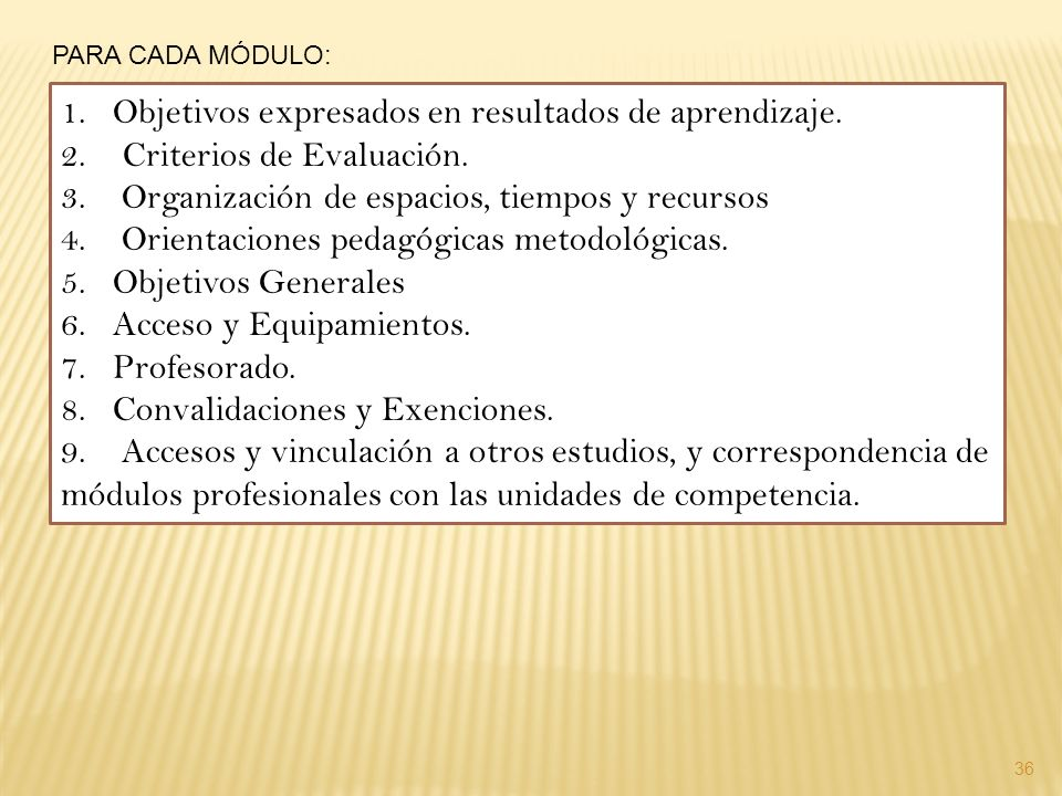 36 PARA CADA MÓDULO: 1.Objetivos expresados en resultados de aprendizaje. 2. Criterios de Evaluación. 3. Organización de espacios, tiempos y recursos