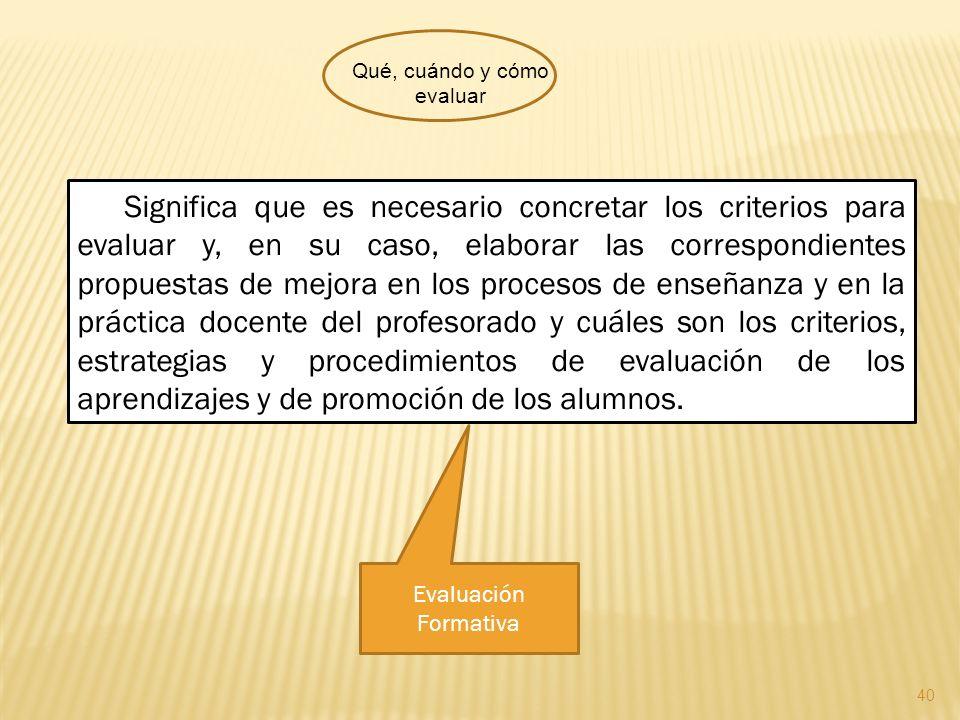 40 Significa que es necesario concretar los criterios para evaluar y, en su caso, elaborar las correspondientes propuestas de mejora en los procesos d