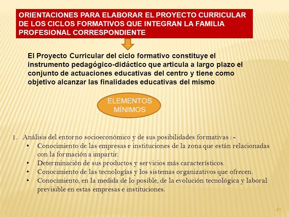 41 ORIENTACIONES PARA ELABORAR EL PROYECTO CURRICULAR DE LOS CICLOS FORMATIVOS QUE INTEGRAN LA FAMILIA PROFESIONAL CORRESPONDIENTE El Proyecto Curricu