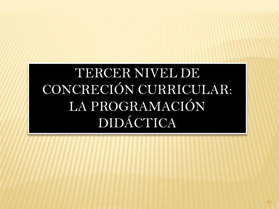 43 TERCER NIVEL DE CONCRECIÓN CURRICULAR: LA PROGRAMACIÓN DIDÁCTICA TERCER NIVEL DE CONCRECIÓN CURRICULAR: LA PROGRAMACIÓN DIDÁCTICA