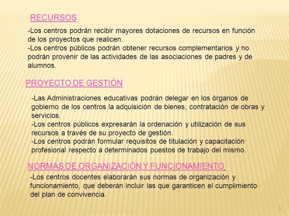 RECURSOS -Los centros podrán recibir mayores dotaciones de recursos en función de los proyectos que realicen. -Los centros públicos podrán obtener rec