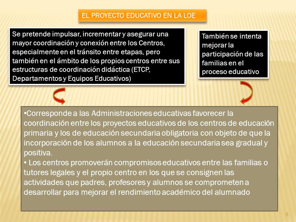 Corresponde a las Administraciones educativas favorecer la coordinación entre los proyectos educativos de los centros de educación primaria y los de e