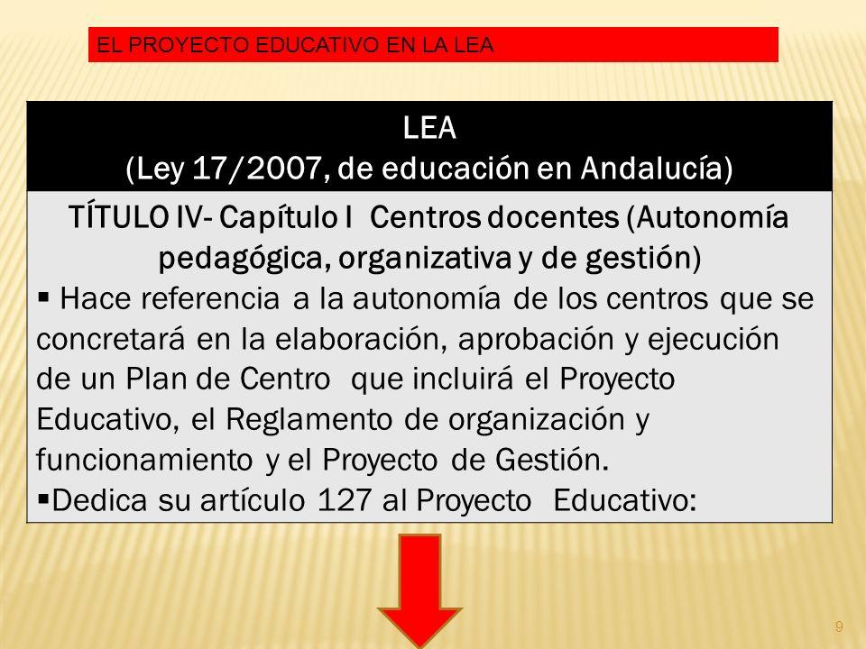 9 LEA (Ley 17/2007, de educación en Andalucía) TÍTULO IV- Capítulo I Centros docentes (Autonomía pedagógica, organizativa y de gestión) Hace referenci