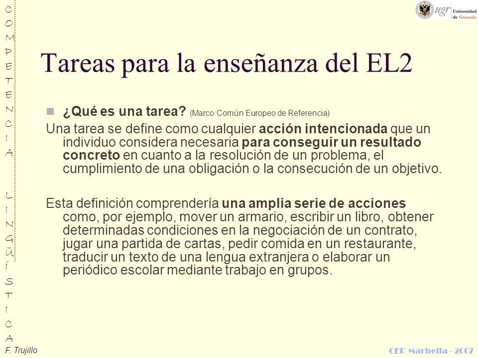 F. Trujillo COMPETENCIALINGÜÍSTICACOMPETENCIALINGÜÍSTICA CEP Marbella - 2007 Tareas para la enseñanza del EL2 ¿Qué es una tarea? (Marco Común Europeo