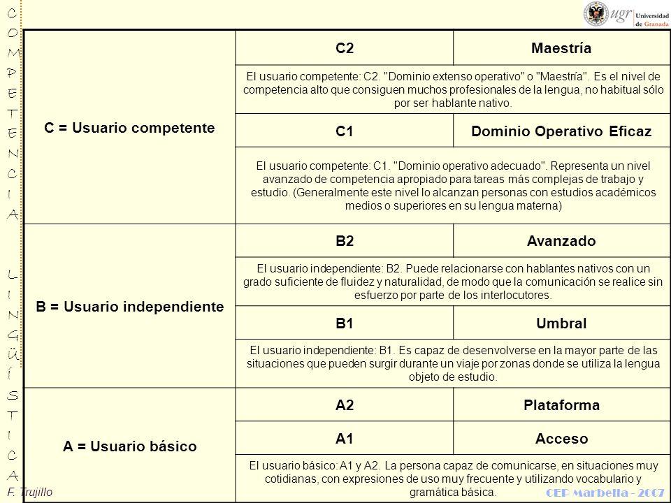 F. Trujillo COMPETENCIALINGÜÍSTICACOMPETENCIALINGÜÍSTICA CEP Marbella - 2007 C = Usuario competente C2Maestría El usuario competente: C2.
