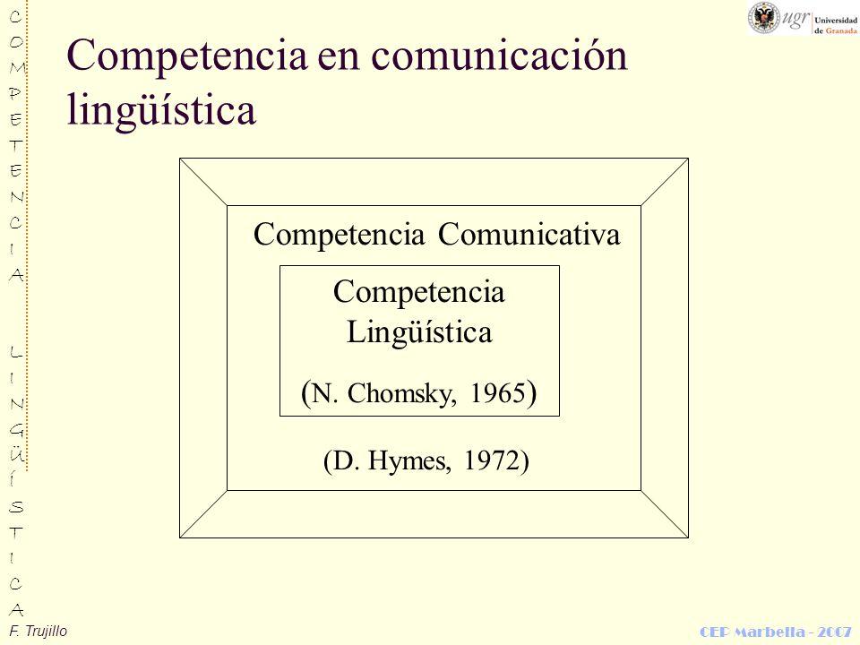 F. Trujillo COMPETENCIALINGÜÍSTICACOMPETENCIALINGÜÍSTICA CEP Marbella - 2007 Competencia en comunicación lingüística Competencia Lingüística ( N. Chom