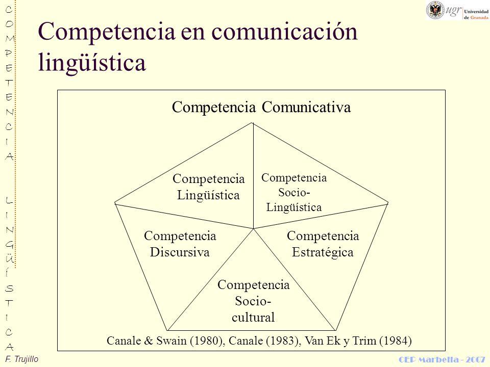 F. Trujillo COMPETENCIALINGÜÍSTICACOMPETENCIALINGÜÍSTICA CEP Marbella - 2007 Competencia en comunicación lingüística Competencia Comunicativa Competen