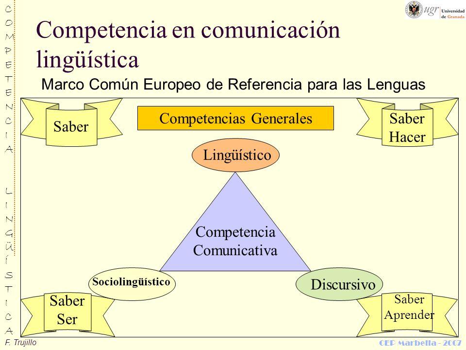 F. Trujillo COMPETENCIALINGÜÍSTICACOMPETENCIALINGÜÍSTICA CEP Marbella - 2007 Competencia en comunicación lingüística Marco Común Europeo de Referencia