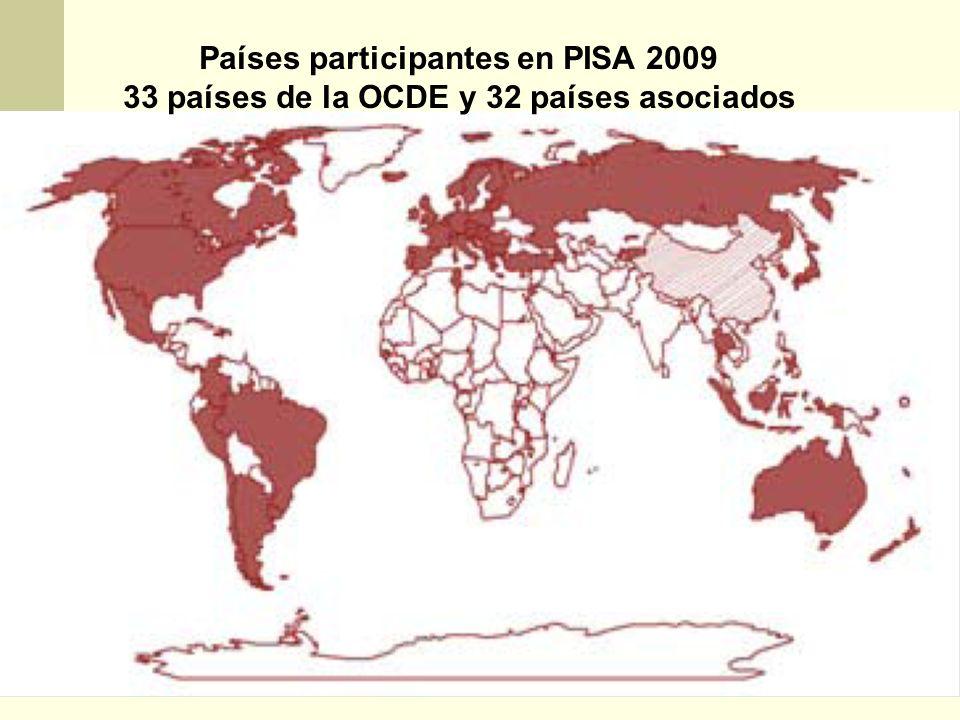 Países participantes en PISA 2009 33 países de la OCDE y 32 países asociados