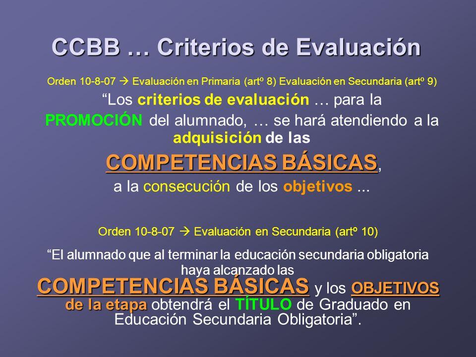 Orden 10-8-07 Evaluación en Primaria (artº 8) Evaluación en Secundaria (artº 9) Los criterios de evaluación … para la PROMOCIÓN del alumnado, … se har