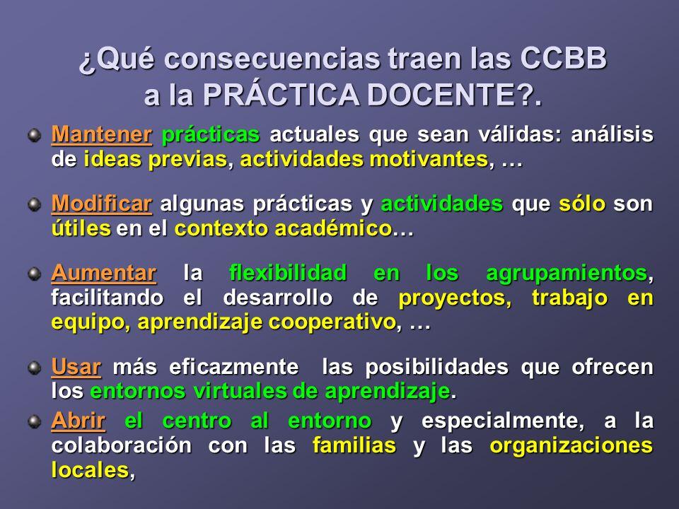 ¿Qué consecuencias traen las CCBB a la PRÁCTICA DOCENTE?. Mantener prácticas actuales que sean válidas: análisis de ideas previas, actividades motivan