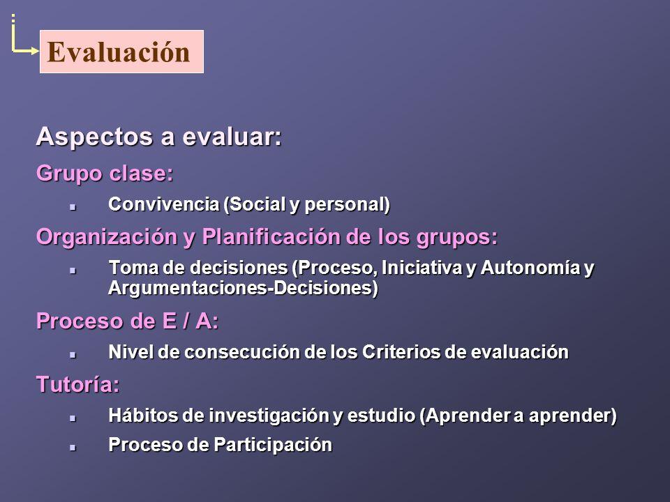 Aspectos a evaluar: Grupo clase: Convivencia (Social y personal) Convivencia (Social y personal) Organización y Planificación de los grupos: Toma de d