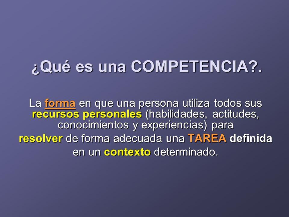 ¿ Qué es una COMPETENCIA?. La forma en que una persona utiliza todos sus recursos personales (habilidades, actitudes, conocimientos y experiencias) pa