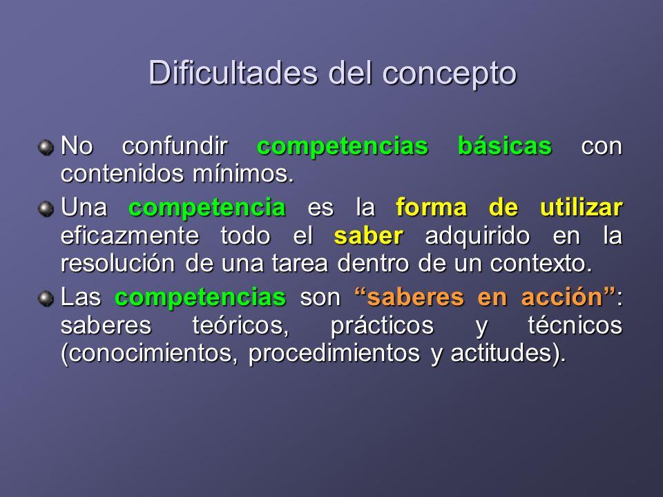 Dificultades del concepto No confundir competencias básicas con contenidos mínimos. Una competencia es la forma de utilizar eficazmente todo el saber