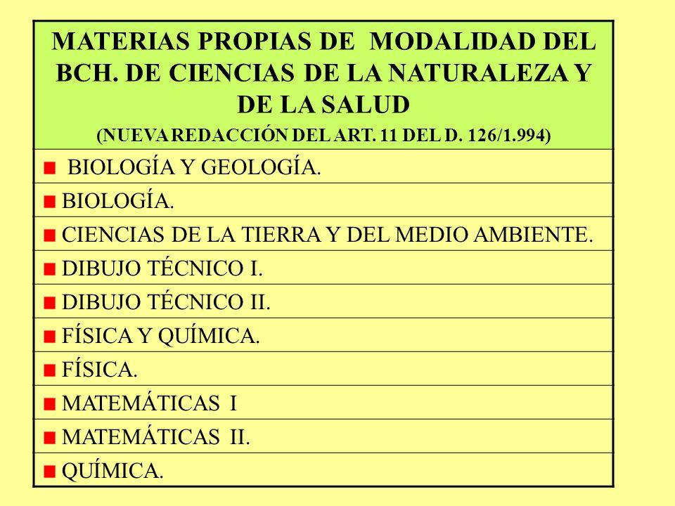 MATERIAS PROPIAS DE MODALIDAD DEL BCH. DE ARTES (NUEVA REDACCIÓN DEL ART. 10 DEL D. 126/1.994) DIBUJO ARTÍSTICO I. DIBUJO ARTÍSTICO II. DIBUJO TÉCNICO