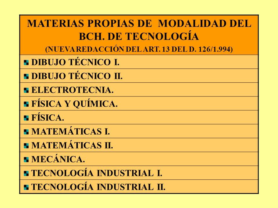 MATERIAS PROPIAS DE MODALIDAD DEL BCH. DE HUMANIDADES Y C. SOCIALES NUEVA REDACCIÓN DEL ART. 12 DEL D. 126/1.994 ECONOMÍA. ECONOMÍA Y ORGANIZACIÓN DE