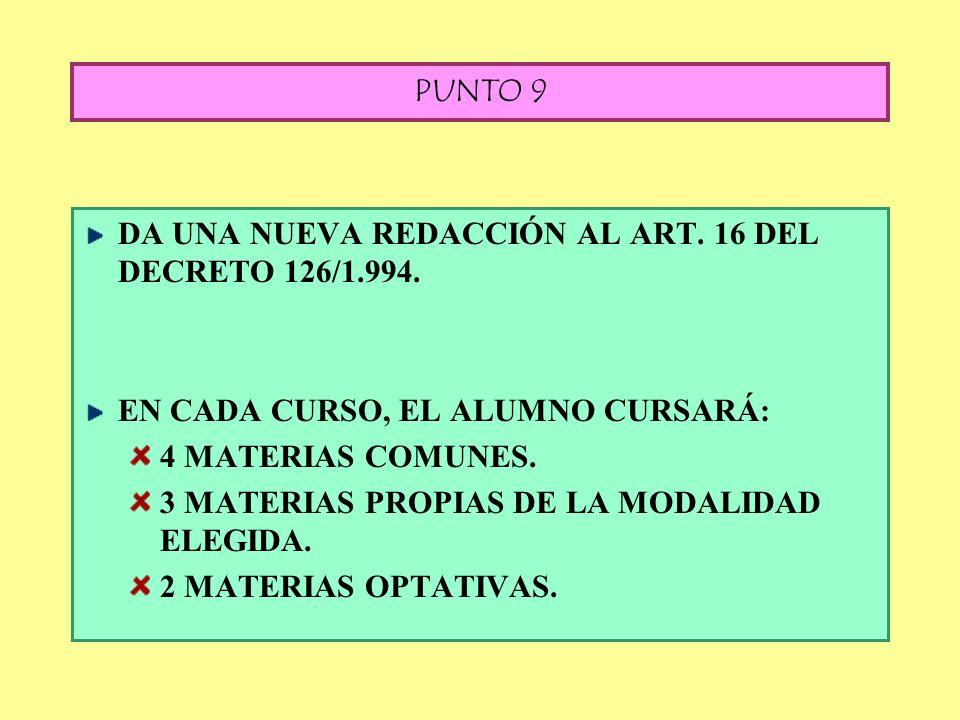 PUNTO 8: OPTATIVAS (Nueva redacción al Art. 15 del D. 126/1.994) Los alumnos tendrán que cursar en los dos cursos, una 2ª. LENGUA EXTRANJERA. La C.E.C