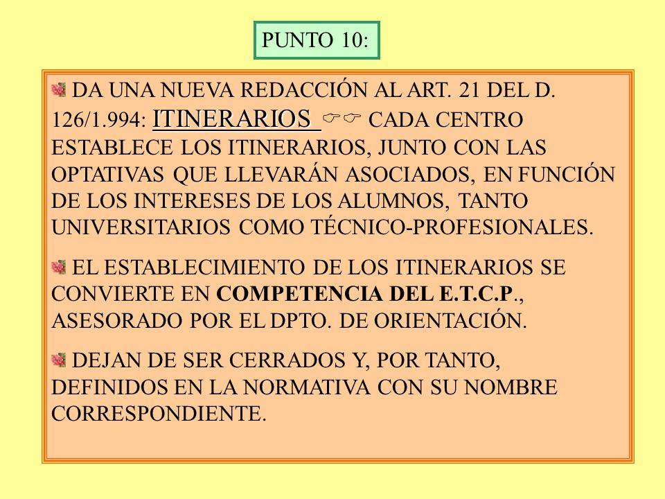 PUNTO 9 DA UNA NUEVA REDACCIÓN AL ART. 16 DEL DECRETO 126/1.994. EN CADA CURSO, EL ALUMNO CURSARÁ: 4 MATERIAS COMUNES. 3 MATERIAS PROPIAS DE LA MODALI