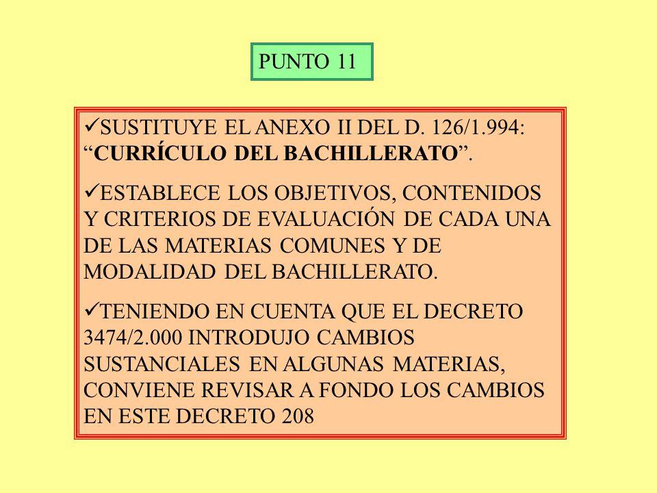 ITINERARIOS DA UNA NUEVA REDACCIÓN AL ART. 21 DEL D. 126/1.994: ITINERARIOS CADA CENTRO ESTABLECE LOS ITINERARIOS, JUNTO CON LAS OPTATIVAS QUE LLEVARÁ