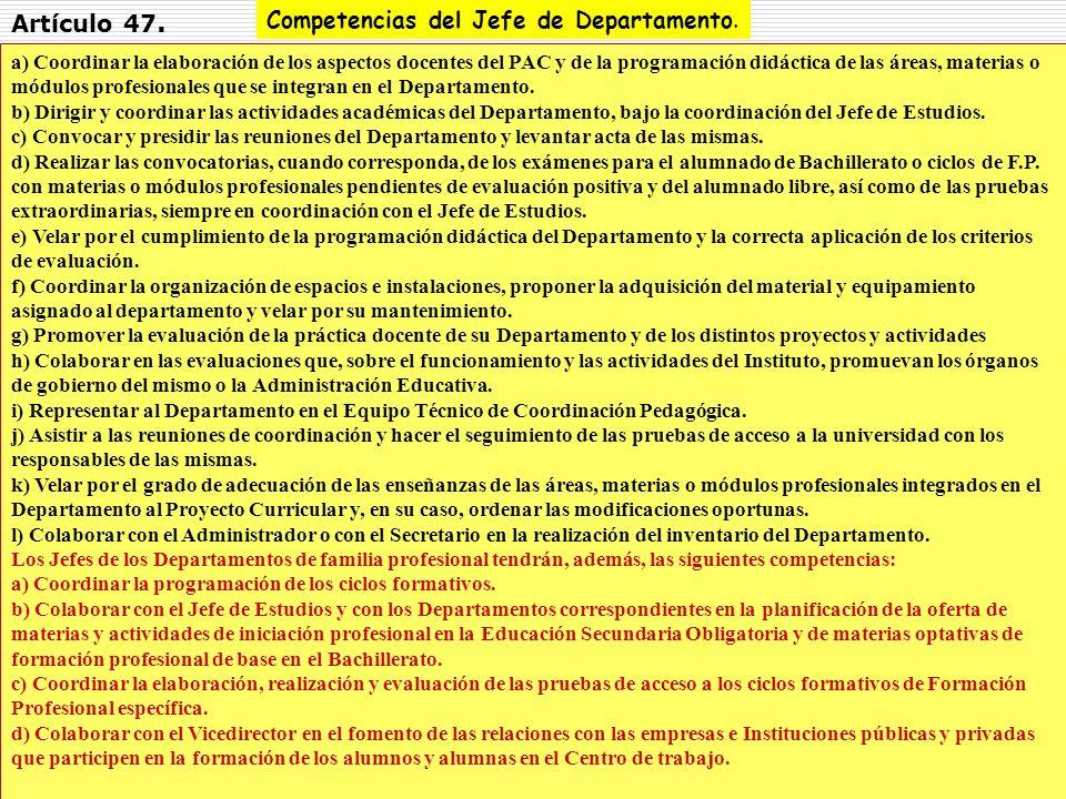 12 a) Coordinar la elaboración de los aspectos docentes del PAC y de la programación didáctica de las áreas, materias o módulos profesionales que se i