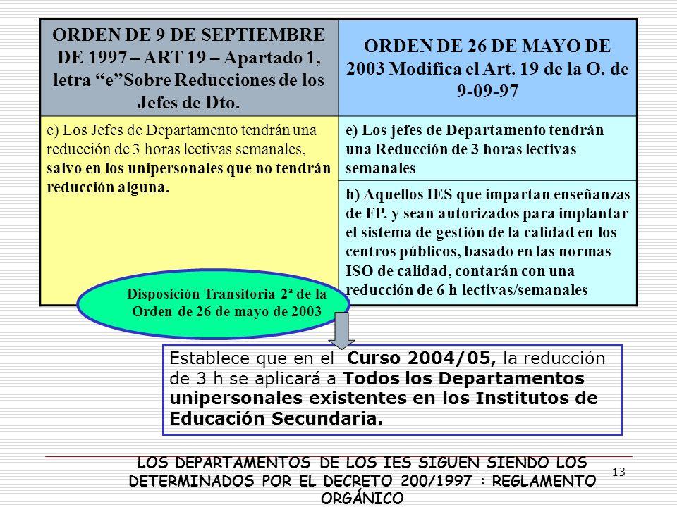 13 Establece que en el Curso 2004/05, la reducción de 3 h se aplicará a Todos los Departamentos unipersonales existentes en los Institutos de Educació