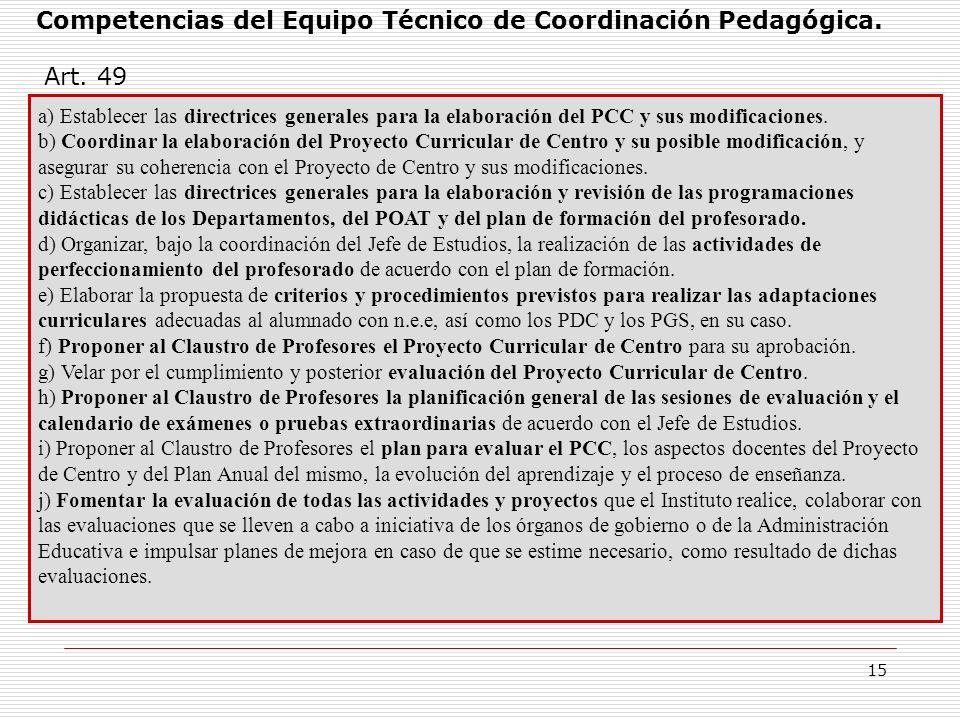 15 Competencias del Equipo Técnico de Coordinación Pedagógica. a) Establecer las directrices generales para la elaboración del PCC y sus modificacione
