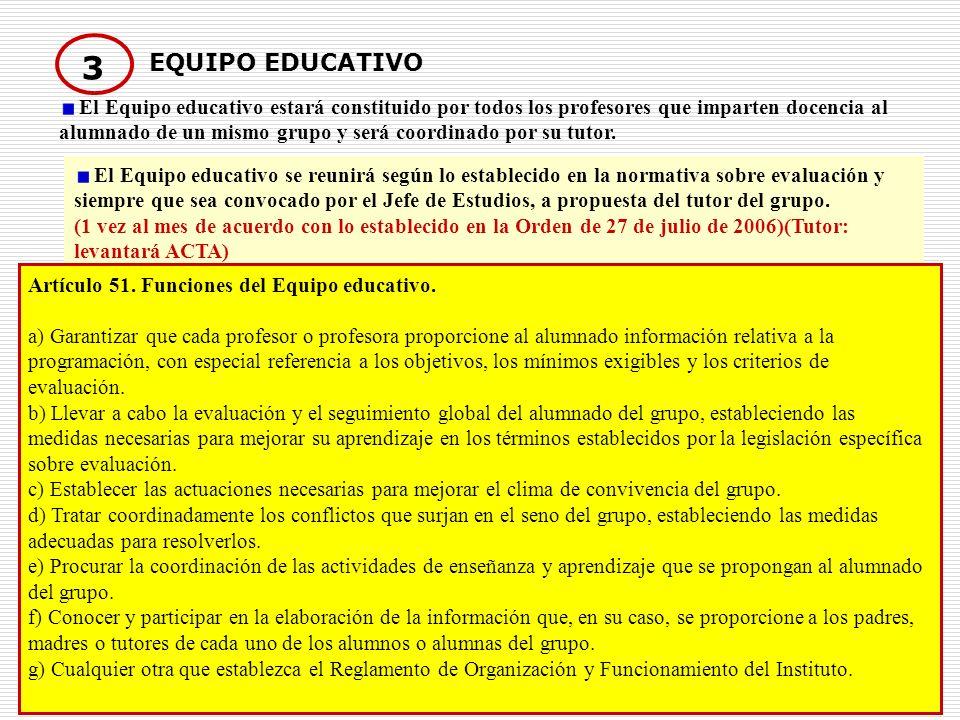 16 3 EQUIPO EDUCATIVO El Equipo educativo estará constituido por todos los profesores que imparten docencia al alumnado de un mismo grupo y será coord