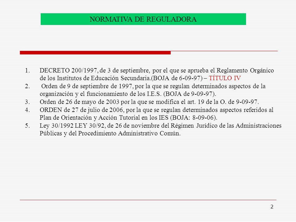 2 NORMATIVA DE REGULADORA 1.DECRETO 200/1997, de 3 de septiembre, por el que se aprueba el Reglamento Orgánico de los Institutos de Educación Secundar