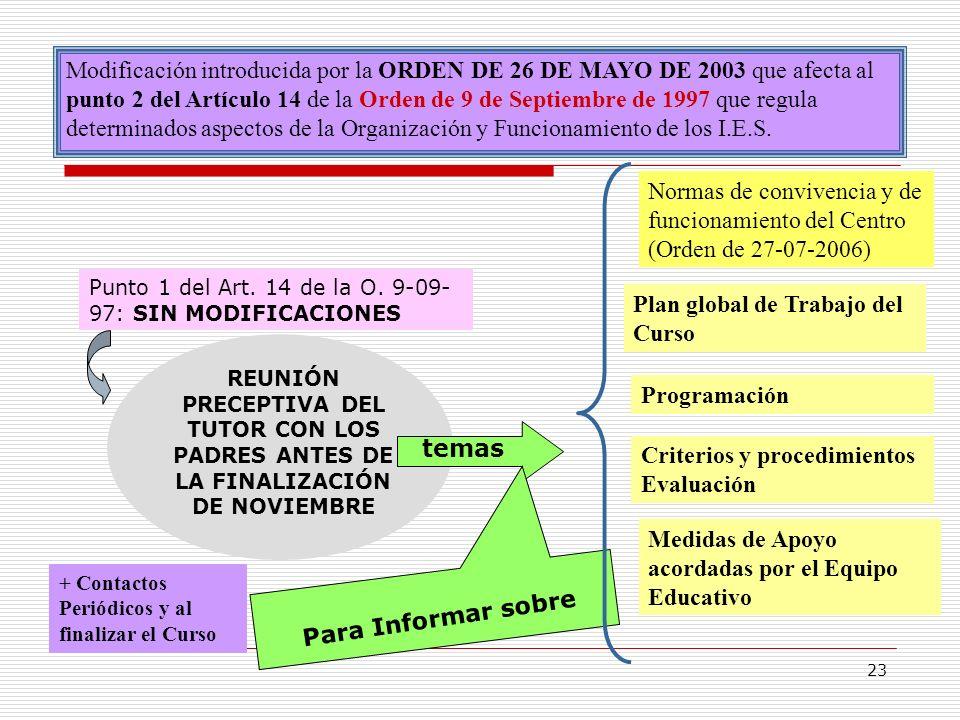 23 Modificación introducida por la ORDEN DE 26 DE MAYO DE 2003 que afecta al punto 2 del Artículo 14 de la Orden de 9 de Septiembre de 1997 que regula