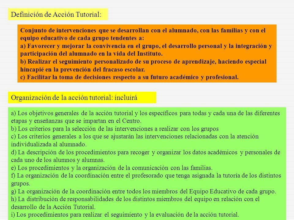26 Definición de Acción Tutorial: Conjunto de intervenciones que se desarrollan con el alumnado, con las familias y con el equipo educativo de cada gr