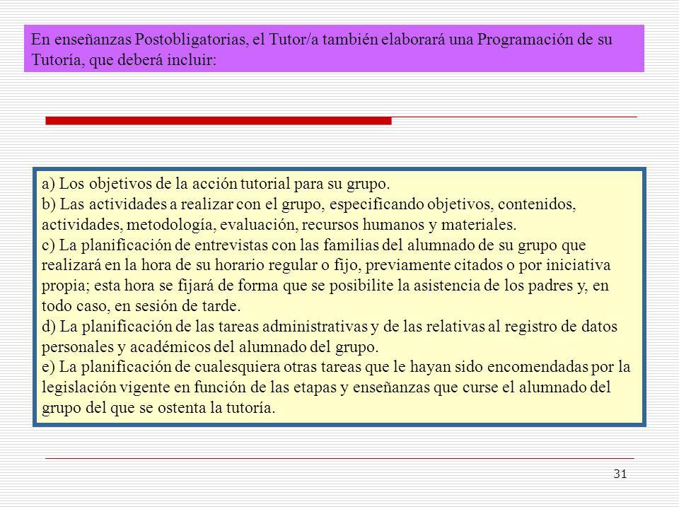 31 En enseñanzas Postobligatorias, el Tutor/a también elaborará una Programación de su Tutoría, que deberá incluir: a) Los objetivos de la acción tuto