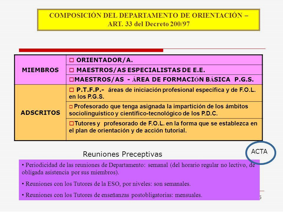 5 COMPOSICIÓN DEL DEPARTAMENTO DE ORIENTACIÓN – ART. 33 del Decreto 200/97 MIEMBROS ORIENTADOR/A. MAESTROS/AS ESPECIALISTAS DE E.E. MAESTROS/AS - Á RE