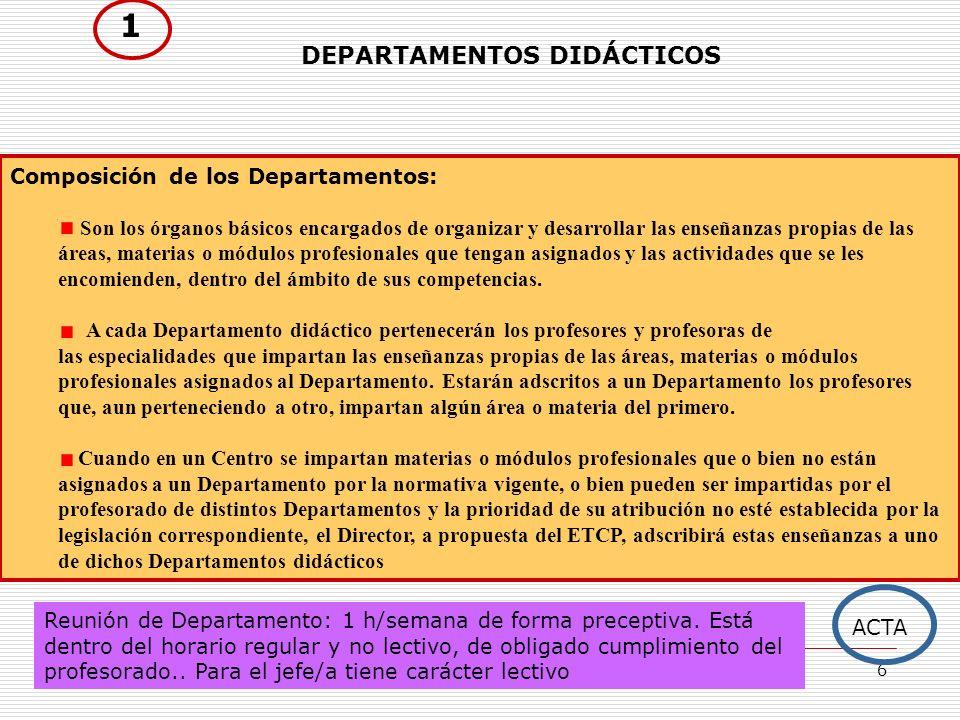 6 DEPARTAMENTOS DIDÁCTICOS Composición de los Departamentos: Son los órganos básicos encargados de organizar y desarrollar las enseñanzas propias de l