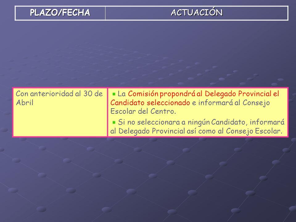 PLAZO/FECHAACTUACIÓN Con anterioridad al 30 de Abril La Comisión propondrá al Delegado Provincial el Candidato seleccionado e informará al Consejo Esc