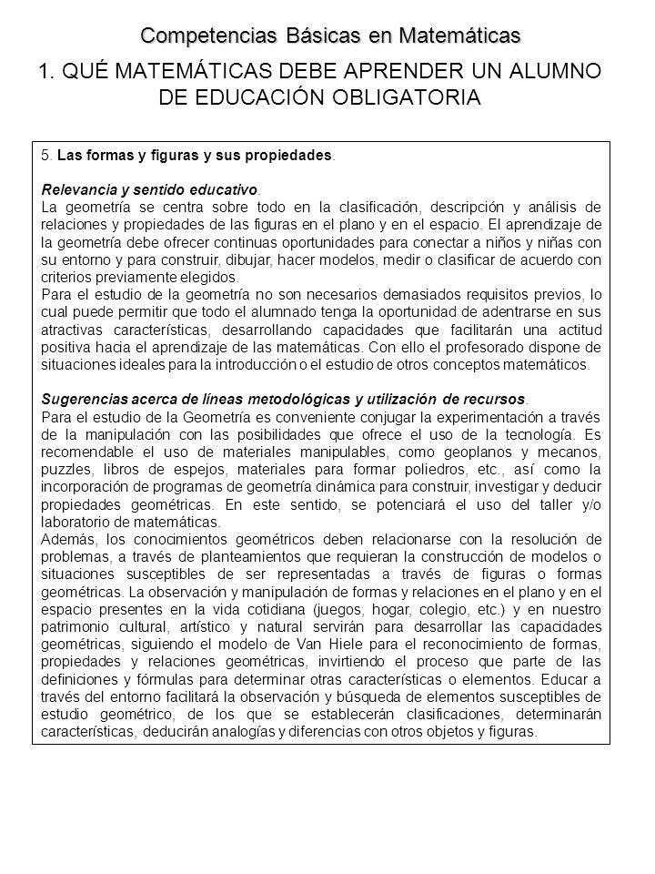 1.QUÉ MATEMÁTICAS DEBE APRENDER UN ALUMNO DE EDUCACIÓN OBLIGATORIA 5.