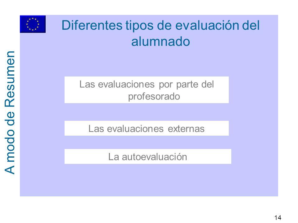 14 Diferentes tipos de evaluación del alumnado A modo de Resumen La autoevaluación Las evaluaciones externas Las evaluaciones por parte del profesorado