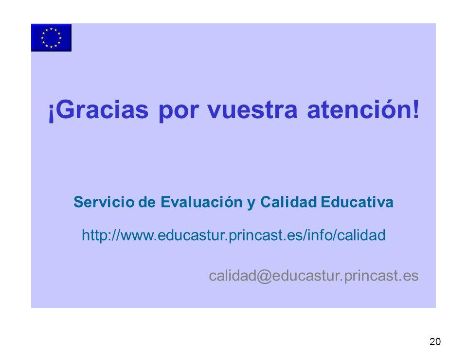 20 Servicio de Evaluación y Calidad Educativa http://www.educastur.princast.es/info/calidad calidad@educastur.princast.es ¡Gracias por vuestra atención!