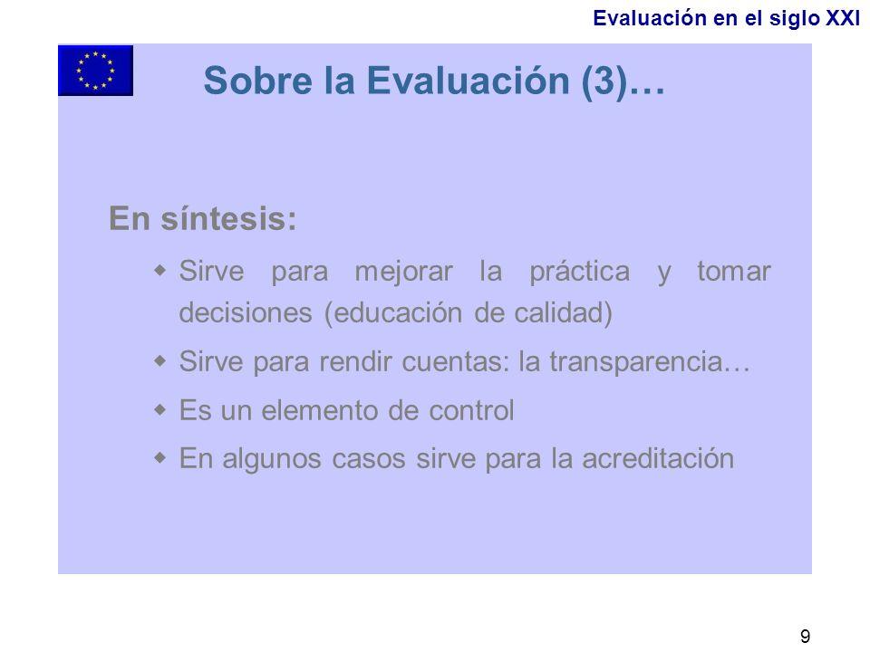 9 Sobre la Evaluación (3)… En síntesis: Sirve para mejorar la práctica y tomar decisiones (educación de calidad) Sirve para rendir cuentas: la transparencia… Es un elemento de control En algunos casos sirve para la acreditación Evaluación en el siglo XXI